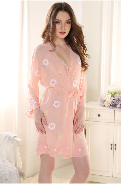 Sexy Sleepwear Women Ladies Satin Silk Pijamas Sets of Night Robe & Nightdress See Through Female Home Clothing Nightgown SQ53