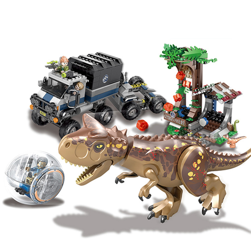 Jurassic Dinosaur World Park Toys Building Brick Blocks Tyrannosaurs Rex Carnotaurus Gyrosphere Escape Compatible Legoings City building blocks 82028 jurassic world indominus rex tyrannosaurs t rex building blocks toys dinosaur bricks children gift toys