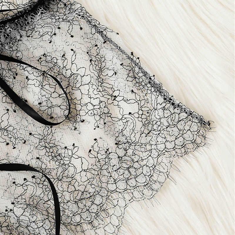 Conjunto de lencería transparente de encaje de pestañas gris, conjunto de ropa interior y ropa interior Sexy transparente de 2019 íntima para mujer