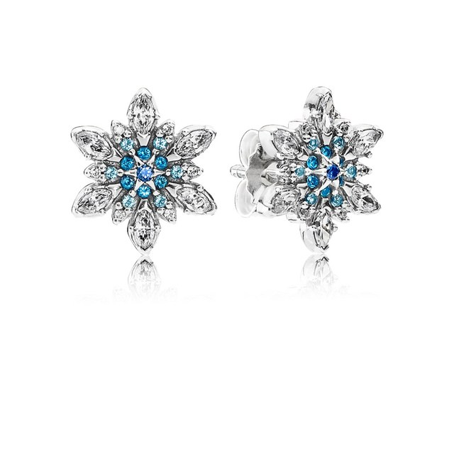 Clic 925 Sterling Silver Crystalized Snowflake Stud Earrings Blue Crystals Clear Cz Fit