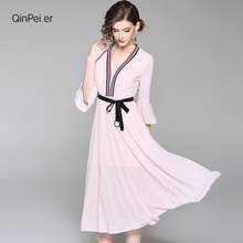 Qinpei er 2018 women knitted dresses office lady dress high quality dress elegant and classical design