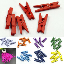 20PCS Mini Colored Wooden Clips For Photo Clips Clothespin Paper Peg Pin Craft Decoration Clips Pegs Wedding Decoration