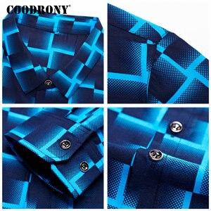 Image 5 - Coodrony 긴 소매 셔츠 남성 비즈니스 캐주얼 셔츠 남성 의류 2019 가을 신착 격자 무늬 camisa masculina 플러스 사이즈 8738