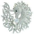 "HelenaJewelry 3.15"" Silver-tone Clear Rhinestone Crystal Unicorn Horse Brooch Pin Pendant EE05954C1"