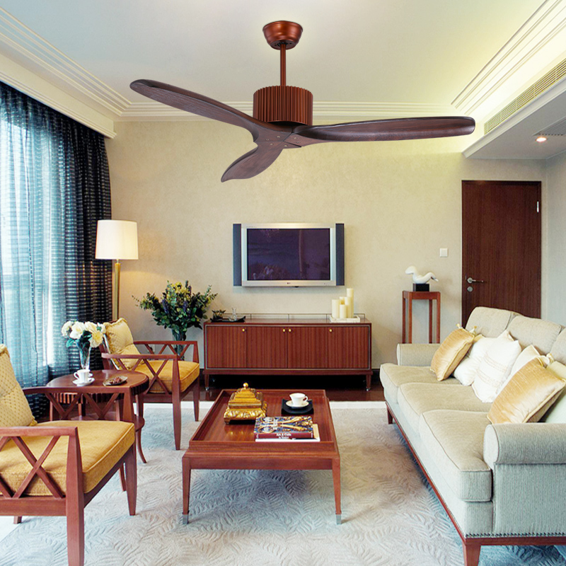 3 Wooden Blades 48inch Fan No Lights Ceiling Fans Villa European Engineered Wood Without