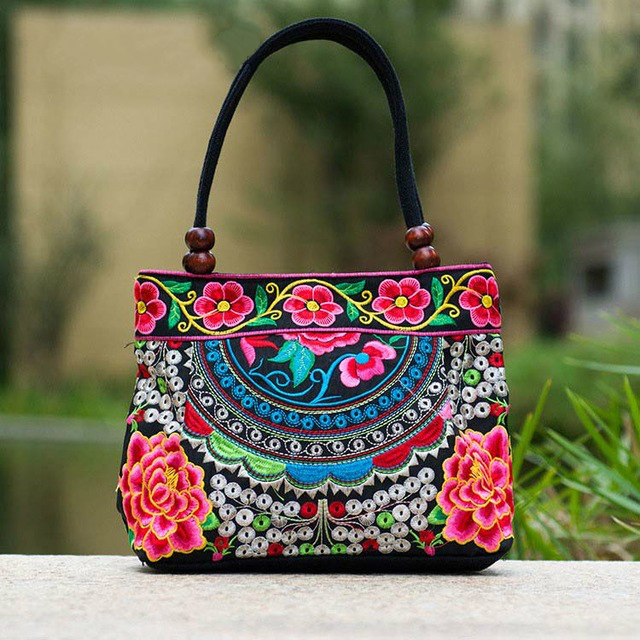 2017 Embroidery Ethnic Travel Shoulder Bag Women Bags Handmade Double Faced Flower Vintage Embroidered Canvas Wood Beads Handbag