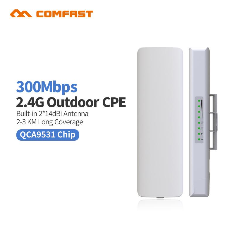 Prix pour 300 Mbps Extérieure wifi routeur cpe 2 * 14dBi wifi antenne 500 mw haute puissance 2.4g WIFI répéteur Longue distance rj45 poe pont Sans Fil