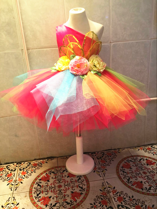 Image 5 - Colorful flowers standart salsa dance dress for girls Sexy modern dance costume for girls dance wear childrens kids competitiondress for dance girldresses for dancingdance wear for girls -