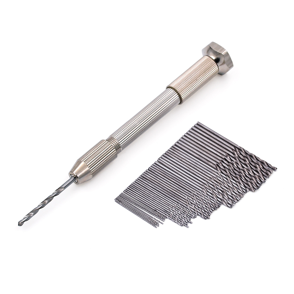 Mini Micro Aluminum Hand Drill With Keyless Chuck +50pcs High Speed Steel Twist Drill Bit Sets For Rotary Tools Wood Drilling