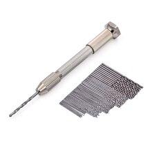 Мини Микро алюминиевая ручная дрель с быстрозажимным патроном+ 50 шт высокоскоростных стальных сверл для роторных инструментов для сверления дерева
