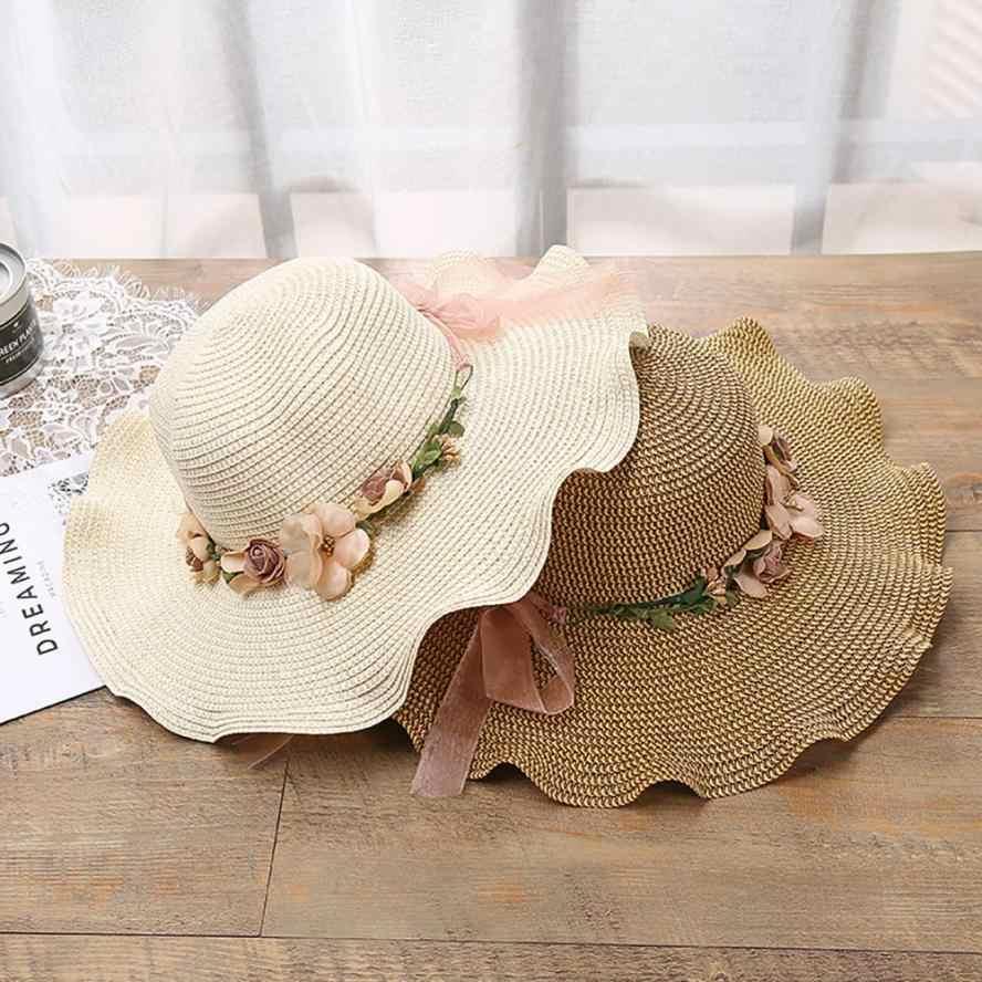 FishSunDay المرأة جميلة الشاطئ قبعة الشمس 2018 الربيع الصيف المرأة الجديدة زهرة لينة القش الشاطئ قبعات دروبشيبينغ 0808