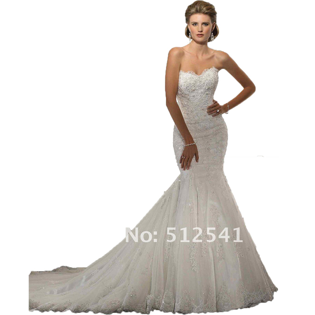 cd72af6b8 Real Pictures Sexy Trumpet Mermaid Wedding Dresses 2015 Sweetheart Organza  Applique Beads Lace Bridal Gown Sweep Train 11-33