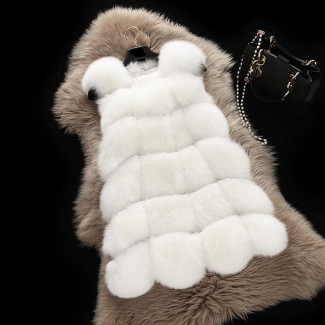 Nueva Llegada 2016 Chaleco de Piel Abrigo de Invierno Caliente Mujeres de La Moda de Importación de alta Calidad de Imitación de Piel de Zorro Abrigo De Piel Largo Chaleco Chaqueta Más tamaño