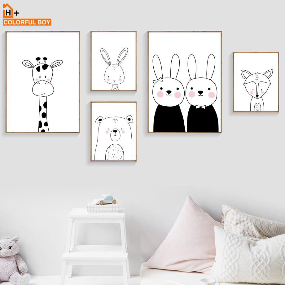 Big Discount  COLORFULBOY Rabbit Bear Giraffe Fox Wall Art Print Canvas Painting Nordic Poster Black White Wall P