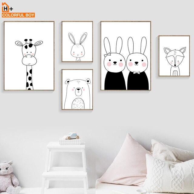 COLORFULBOY ארנב דוב ג 'ירפה שועל קיר אמנות הדפסת בד ציור נורדי פוסטר שחור לבן קיר תמונות תינוק ילדים חדר דקור