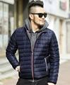 2016 новый зимний Белый гусиный пух куртки мужчины бренд пальто deep синий свет Куртка Мужская твердые теплая вниз ватник хлопка пальто