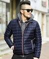 2016 novo casaco de inverno ganso Branco para baixo homens jaqueta de marca profunda luz azul Jaqueta Mens sólida quente para baixo casaco de algodão jaqueta acolchoada