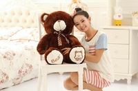 middle plush bow teddy bear toy stuffed lovely brown bear doll birthday gift about 80cm s2953