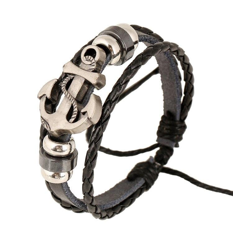 Genuine Pu Hand-Woven Retro Anchor Leather Charm Bracelet Elastic Braclet Men Pulseiras Masculinos De Couro Erkek Bileklik