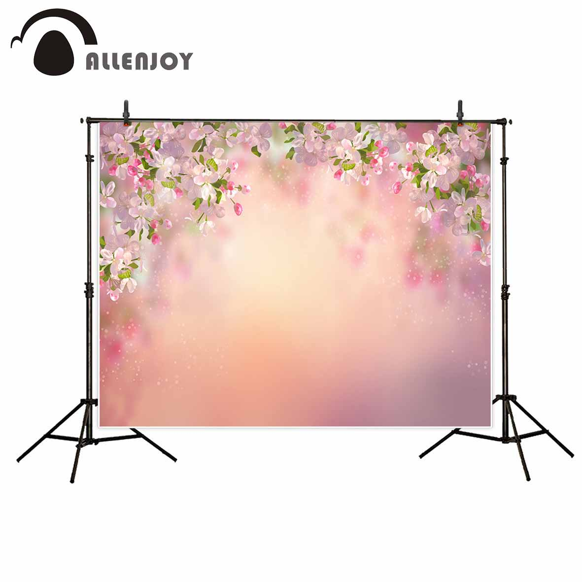 Allenjoy photography backdrops Pink flowers spring bokeh photographic background decorations photocall background vinyl