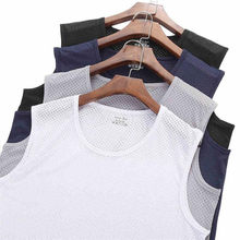 Men's Breathable Mesh Vest Male Ice Silk Quick-drying O- Neck Hollow Sleeveless Vest Wide Shoulder Waistcoat Fitness Slim(China)