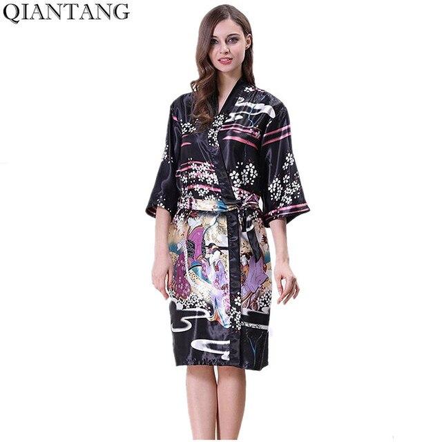 3e80503832 Black Women's Kimono Robe Bathrobe Sleepwear Female Faux Silk Bath Gown  Nightgown Mujer Pijama Size S M L XL Y8448