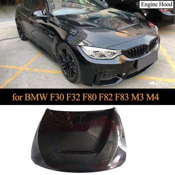 Carbon Fiber Car Front Hood Bonnet Cover for BMW F30 F32 F80 F82 F83 M3 M4 Engine Cover Hood Gloss black