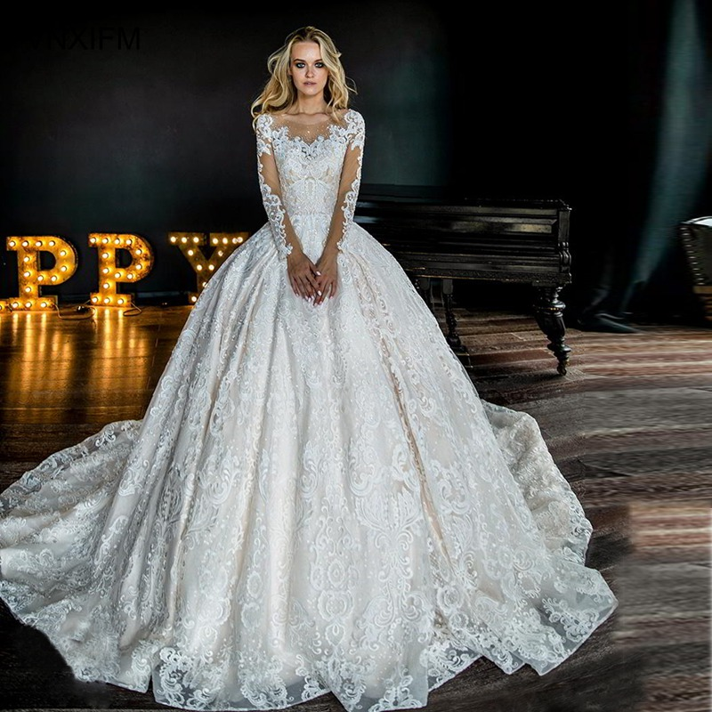 Wedding Ball Gowns Sweetheart Neckline: 2019 Bridal Long Sleeves Sweetheart Neckline Full