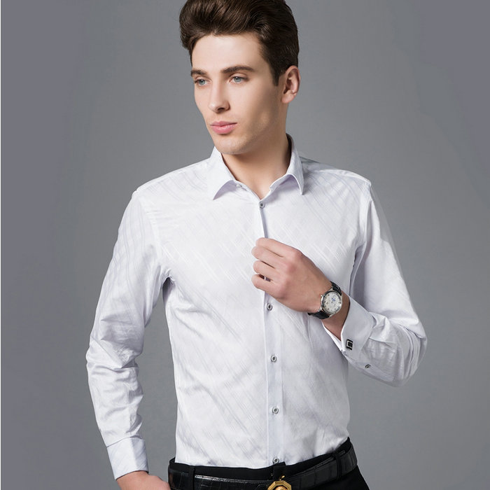 Plaid shirts white shirt male business casual french for Mens shirts with cufflinks