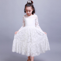 Kids Fashion Clothes Lace Dress With Long Sleeves Vintage Style Girls Clothing 2017 European And American