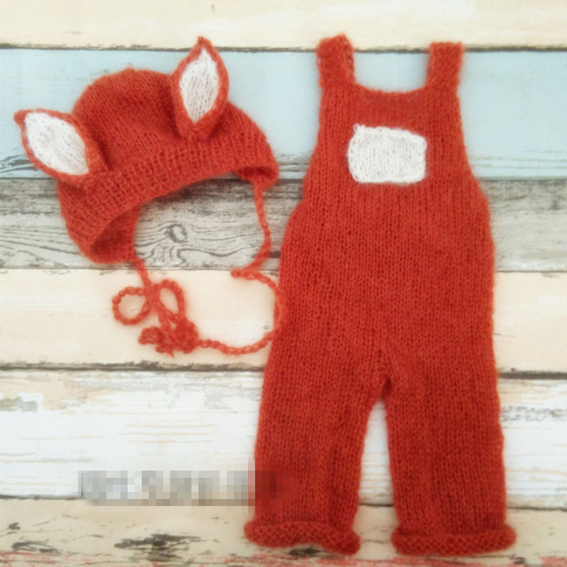 Newborn Fox Hat Newborn Mohair Romper Outfit Handmade Knitted Baby Hat  Animal Bonnet Photo Props Newborn Photography Props-in Hats   Caps from  Mother   Kids ... ed28a1e5ae5e