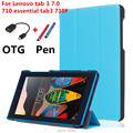 For Lenovo 7inch  Stand flip Custer PU Case Cover capa para For Lenovo tab 3 7.0 710 essential tab3 710F Tablet PC+OTG+Pen+Film