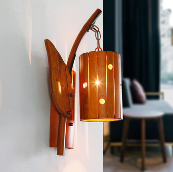 Rural-style traditional craft bamboo perforated wall lamps Europe retro handmade E27 lights for vestibule&corridor&porch LDK004