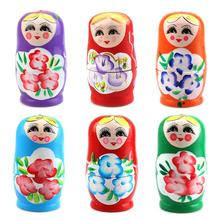 2019 NEW Free Drop Shipping  5Pcs Novelty Cartoon Girl Russian Wooden Nesting Dolls Hand Painted Matryoshka 5pcs cute wooden dolls animal paint nesting babushka russian dolls children early education birthday matryoshka gift