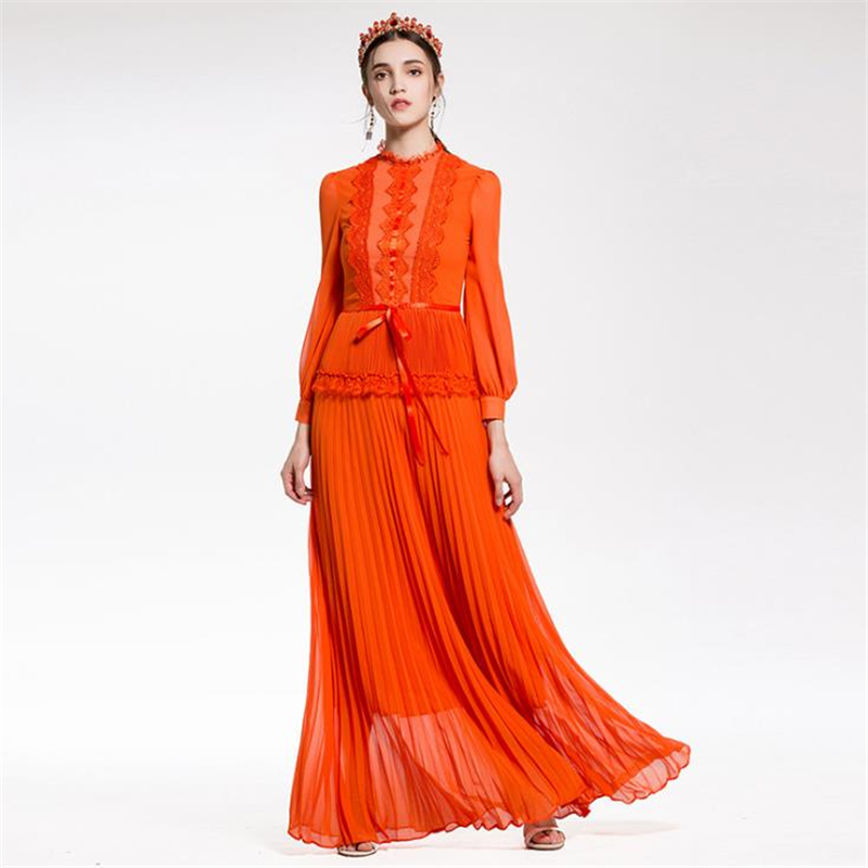 UNIQUEWHO Girls Women Slim Elegant Maxi Dress Orange Black Long Sleeve Lace Pleated Dress New Party Dresses Spring Summer Dress toddlers girls dots deer pleated cotton dress long sleeve dresses