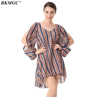 BKMGC Sweet Casual Loose Women Dress New Arrvie New Style High Quality Ladies Dresses Patchwork Full