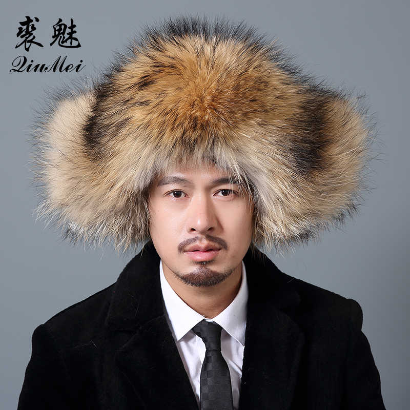 11c764562 Russian Male Wam Fur Bomber Hats Men Winter Hats With Earmuffs Trapper Ear  Flap Cap Man Real Raccoon Fur Black Real Fox Hat