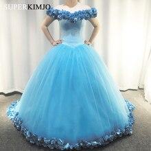 Cenerentola prom dresses blu fatto a mano fiori largo della spalla 3d fiori puffy abito di sfera di lunghezza del pavimento abiti da sera blu