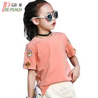 Teens Girl Floral Embroidered tShirts Summer Cotton Girls Brand T-shirt kids Designer Bee Tees Loose Rock T-shirt Girl Clothes
