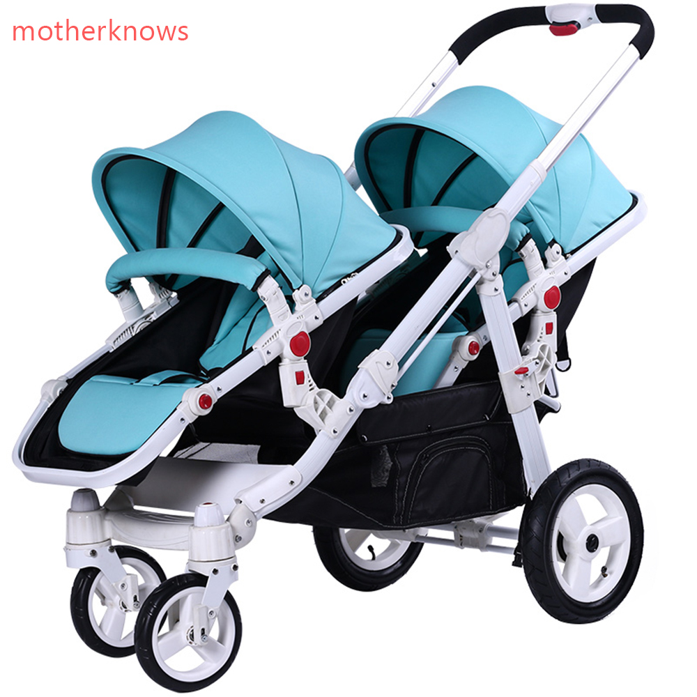 Motherknows brand baby Export twins stroller baby strollers 0-4 years baby use suspension wheels  folding light baby twin pram hk free high quality export baby twin stroller purple 4 colors in stock four season use twin kids baby car