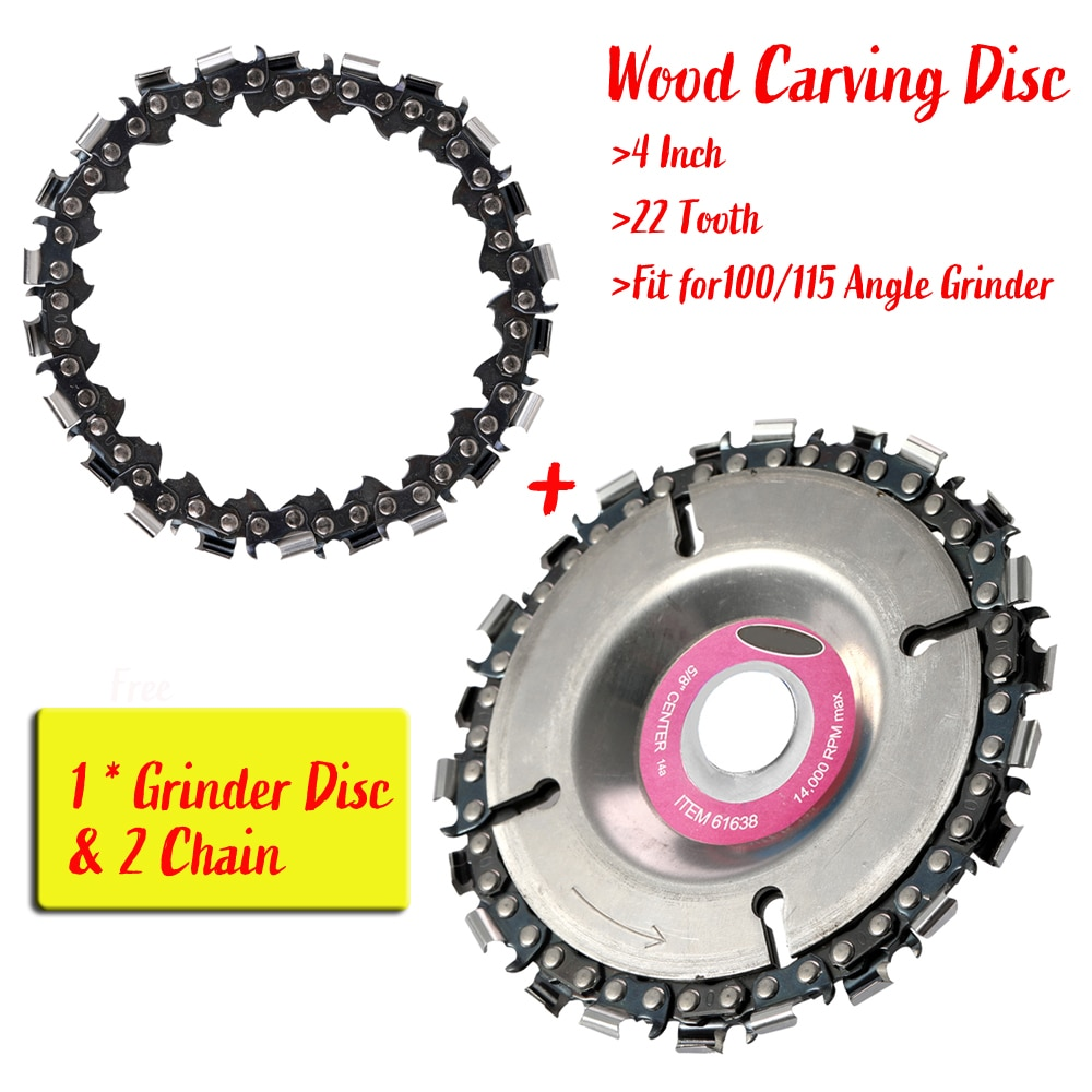 22 Tooth Grinder Chain Disc Wood Carving Disc 4 Inch For 100/115mm Angle Grinder Power Tool Accessories With 1 Free Chain