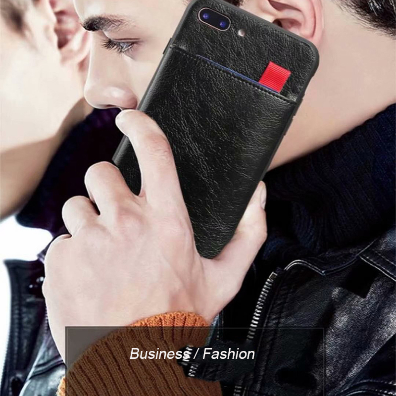 Person - Haissky Leather Wallet Phone Case For iPhone X 6 6s 7 8 Plus Case Luxury Pull Type Card Slots Back Cover For iPhone X 10 8 Plus