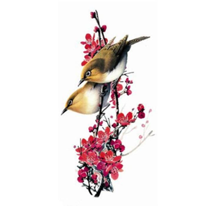 ̿̿̿(•̪ )Impermeable tatuaje temporal Adhesivos 3D flores rojas Aves ...