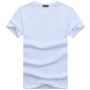 Image 3 - 5ピース/ロットシンプルなスタイルの男性のtシャツ半袖固体綿スパンデックスレギュラーフィットカジュアル夏トップスtシャツの男性服