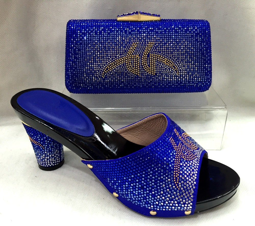 ФОТО 2017 New Italian Woman Matching Shoe And Bag Set African Summer Style Rhinestones Woman Shoes And Bag For Party TT13