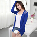 Dropshipping Autumn Women Cardigan Sweaters New Design Ladies Candy Color Lace Knitted Shrugs Casual Short Loose Solid Shirt