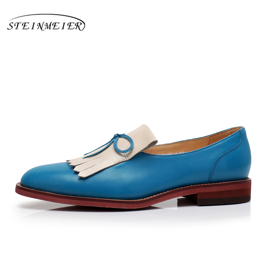 Casual Appartements blue Chaussures De Brown Oxford Dames Femme Vintage Véritable Femmes Pour Cuir Derbies En Yinzo Sneakers red qwHaEOII