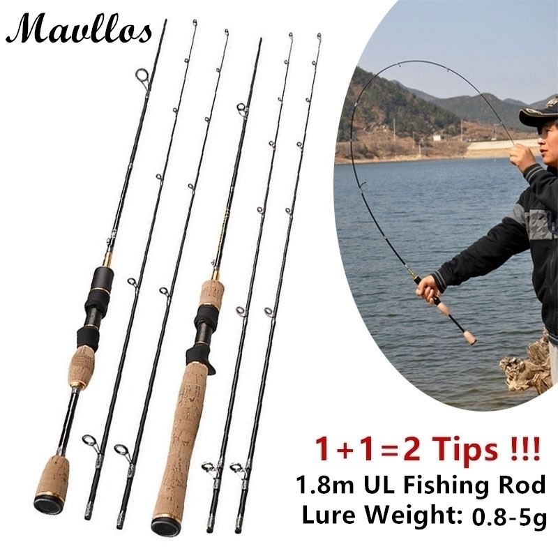 Mavllos Cheap 1.8m Ul Light Lure Weight 0.8-5g UltraLight Fishing Spinning Rod 2 Section Ultra Light Carbon Casting Fishing Rod