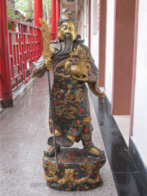 40 China Bronze gild Cloisonne Martial arts expert dragon font b knife b font king Guan