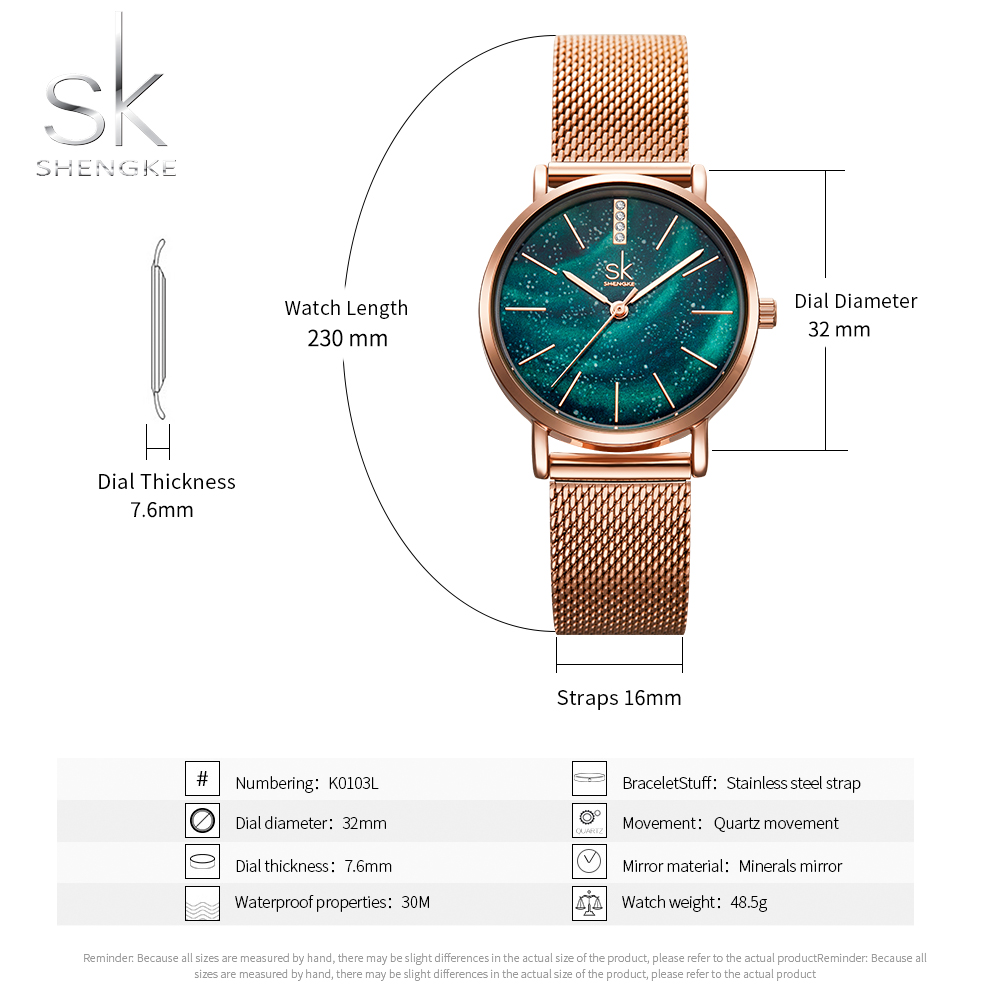 Shengke Women Watches Starry Green Dial Reloj Mujer Ladies Wristwatch Stainless Steel Strap Quartz Watch Lady Montre Femme SK in Women 39 s Watches from Watches